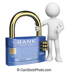 hitelkártya, emberek., 3, biztos, fehér