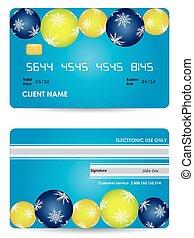hitelkártya, -, hát, kiadás, elülső, karácsony, kilátás