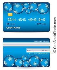 hitelkártya, vektor, hát, elülső