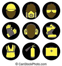 hivatással összefüggő, cégtábla, egészség, ikonok, állhatatos, biztonság