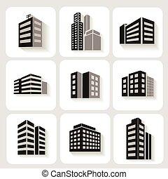 hivatal épület, sokemeletes, ikonok, szürke, dimenzionális, ábrázol, állhatatos, fehér, árnyék, eltöm, kereskedelmi