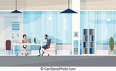 hivatal, ügy, ülés, emberek, co-working, együtt, középcsatár, dolgozó, kreatív, íróasztal