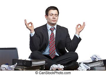 hivatal, ügy, őt elmélkedik, íróasztal, hansúlyos, csalódott, ember