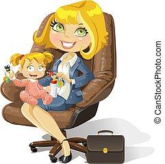 hivatal, ügy, anyu, csecsemő lány, szék