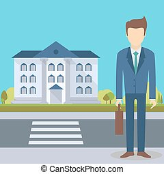 hivatal, üzletember, épület