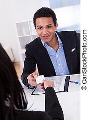 hivatal, ajánlat, látogató, üzletasszony, kártya, ember