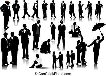 hivatal emberek, szín, silhouettes., egy, vektor, csattant, cserél