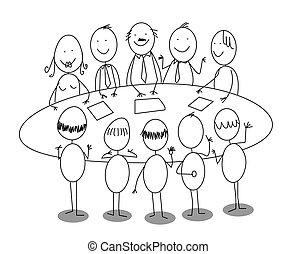 hivatal, karikatúra, gyűlés