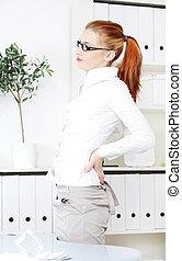 hivatal, nő, backache., birtoklás