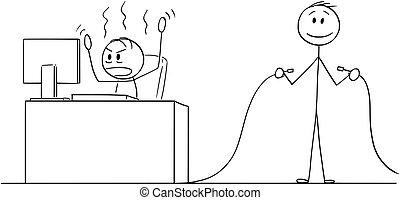 hivatal, számítógép, kábel, vagy, mérges, birtok, másik, karikatúra, kikapcsolt, dolgozó, ember, üzletember