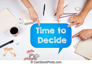hivatal találkozik, idő, decide., fehér, asztal.