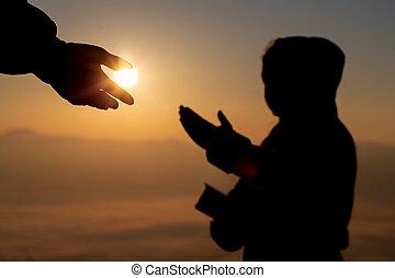 hogyan, nap, árnykép, konzerv, kéz, ételadag, nemzetközi, peace., fogalom, ön, segítség