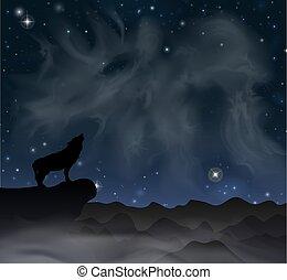 hold, hegy, ábra, alatt, farkas, eps, 10, vektor, howls, ég, stars.