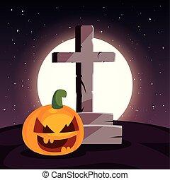 hold, színhely, keresztény, kereszt, temető