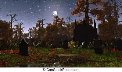 holdfény, éjszaka, elhagyatott, temető, 4k