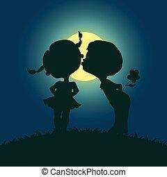 holdfény, fiú, körvonal, leány, csókolózás