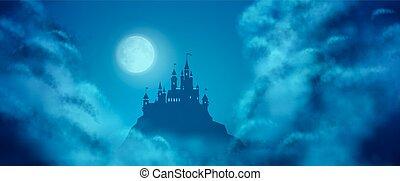 holdfény, képzelet, bástya, vektor, ég