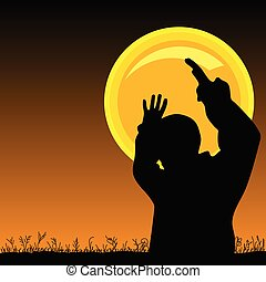 holdfény, vektor, ember
