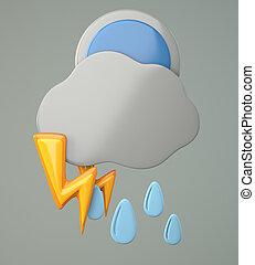 holdtölte, sötét, világítás, esőcseppek, felhő