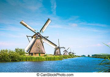 holland, folyó, netherlands., windmills, hagyományos, falu, napnyugta, hollandia