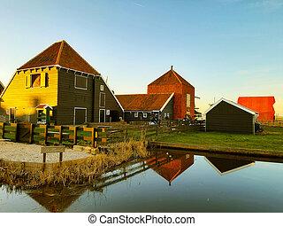 holland, színes, épület, fából való, épít, csatornák, napnyugta