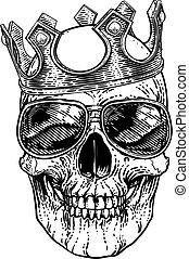 homály, koponya, fejtető, csontváz, friss, napszemüveg