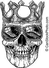 homály, napszemüveg, friss, koponya, csontváz, fejtető
