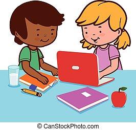 homework., diákok, ábra, -eik, vektor, íróasztal