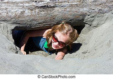 homok, ásás, gyermek