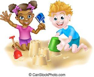 homok, gyermekek játék