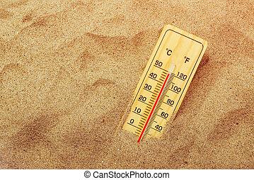 homok, meleg, dezertál, lázmérő
