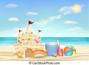 homok tengerpart, bástya, tenger