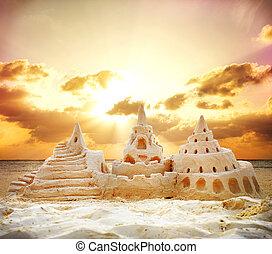 homok tengerpart, napnyugta, felett, bástya
