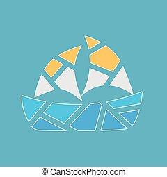 homokos, jacht, ábra, vektor, texture-, tengerpart, csónakázik