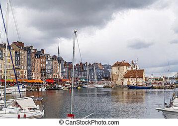 honfleur, öreg port, franciaország