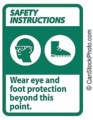 hord, lábfej, mutat, szem, jelkép, ez, ppe, utasítás, aláír, protection biztonság, felett
