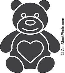 hord, szív alakzat, ikon, teddy-mackó