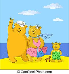 hordoz, tengerpart, család, teddy-mackó