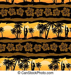 horgonykapák, frangipani, seamless, tropikus, motívum, napkelte