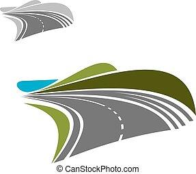 horisont, modern, fordítás, autóút, út