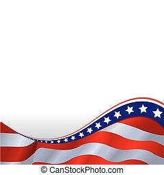 horizontális, lobogó, amerikai, háttér