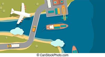 horizontális, rakomány, nézet., vektor, lakás, csónakázik, tető, kikötő, transport., ábra, track., rév, iparág, hajó, postázás megnyirbál, tenger, repülőgép, transzparens, style., daru