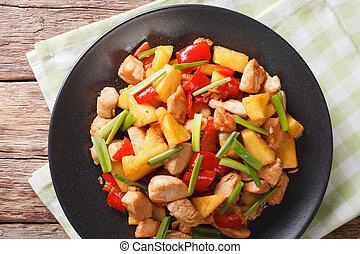 horizontális, sauce., kellemes, növényi, ananász, fanyar, mell, sült csirke, tető kilátás