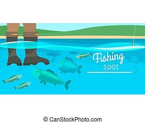 horizontális, sport, transzparens, halászat