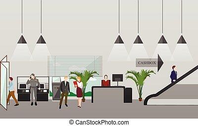 horizontális, transzparens, interiors., pénz finanszíroz, concept., vektor, part, karikatúra, illustration., lakás