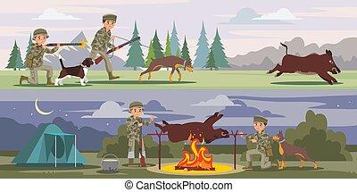 horizontal lobogó, vadászat
