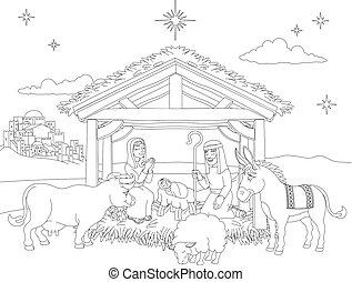 horoszkóp, karácsony, színezés, színhely, karikatúra