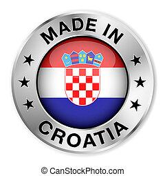 horvátország, elkészített, jelvény, ezüst