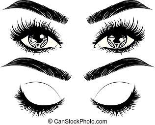 hosszú, homlok, szemek, szempillák