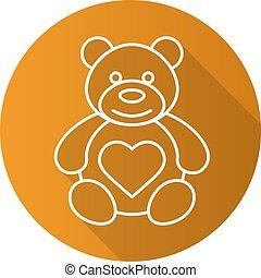 hosszú, lineáris, lakás, hord, teddy-mackó, szív, alakzat., ikon, árnyék